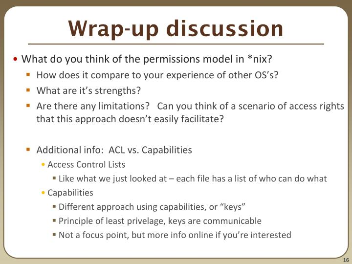 Wrap-up discussion