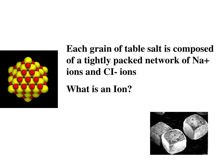 Each grain of table salt is composed of a tightly packed network of Na+ ions and CI- ions