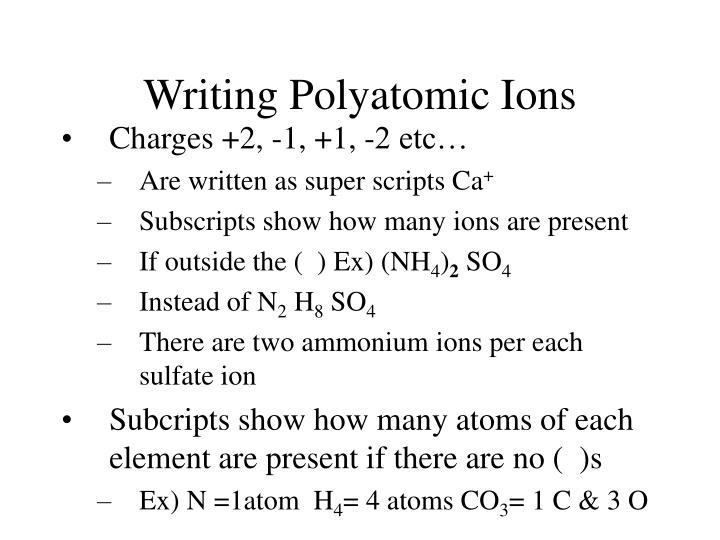 Writing Polyatomic Ions