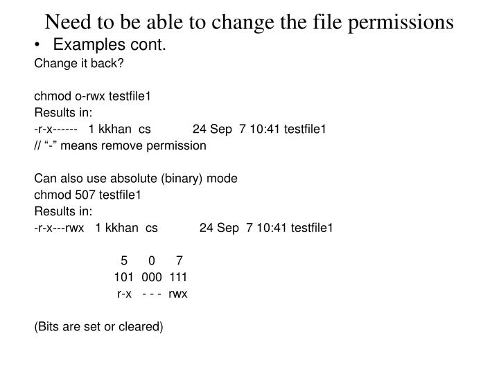 Need to be able to change the file permissions