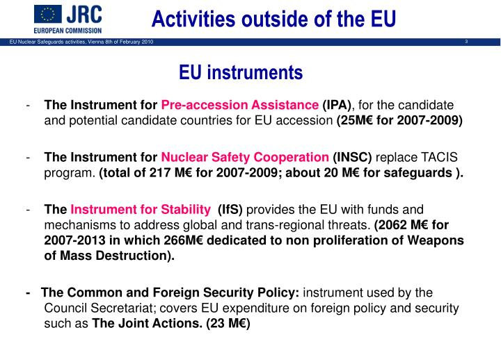 Activities outside of the EU
