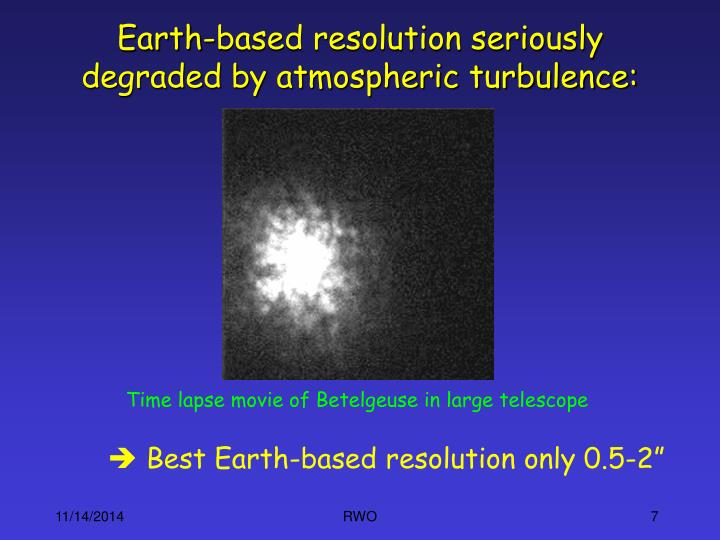Earth-based resolution seriously degraded by atmospheric turbulence: