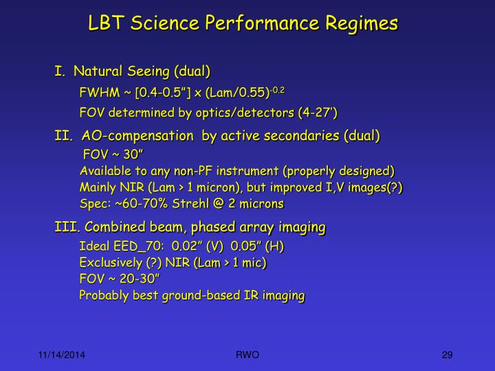 LBT Science Performance Regimes