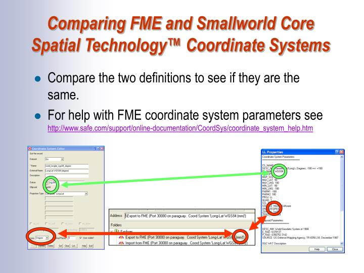 Comparing FME and Smallworld Core Spatial Technology™ Coordinate Systems