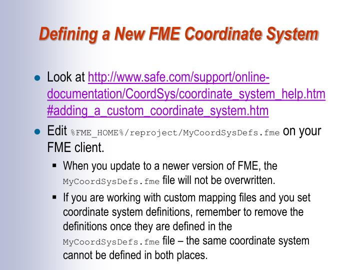 Defining a New FME Coordinate System