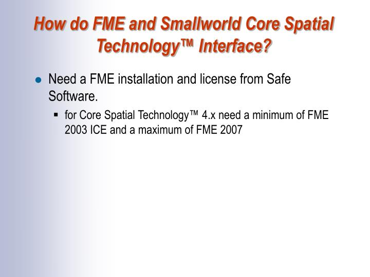 How do FME and Smallworld Core Spatial Technology™ Interface?