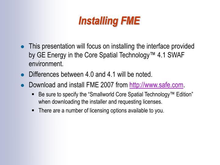 Installing FME
