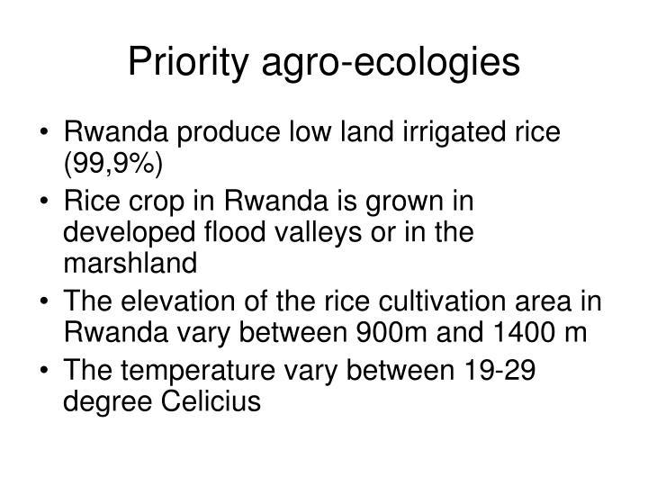 Priority agro-ecologies