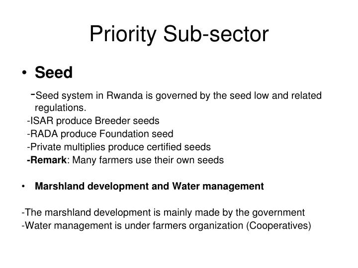 Priority Sub-sector