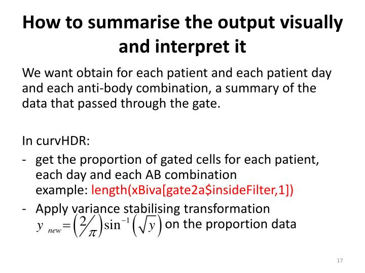 How to summarise the output visually and interpret