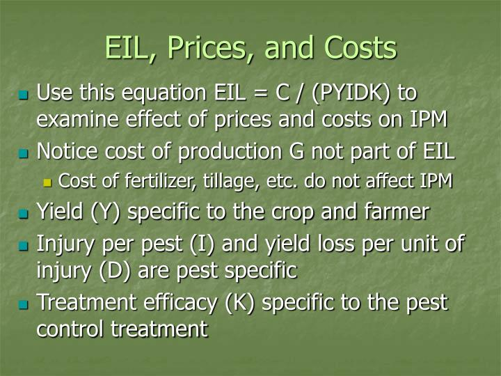 EIL, Prices, and Costs