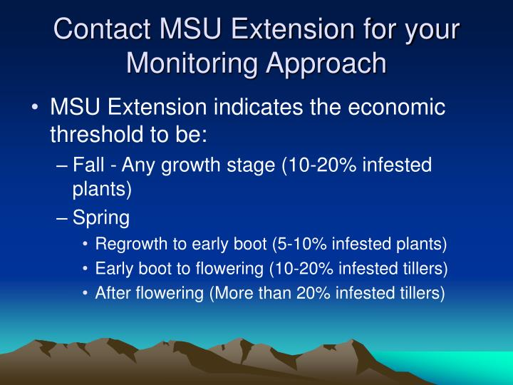 Contact MSU Extension for your Monitoring Approach