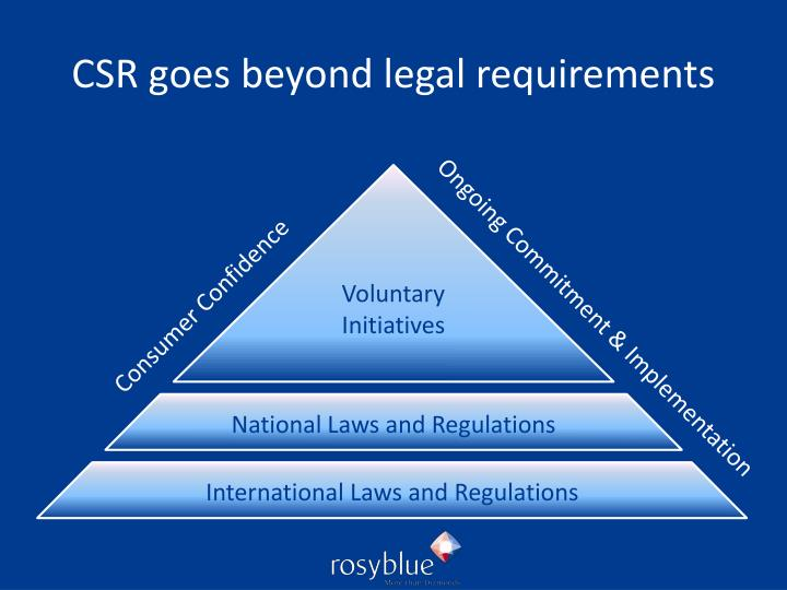 CSR goes beyond legal requirements