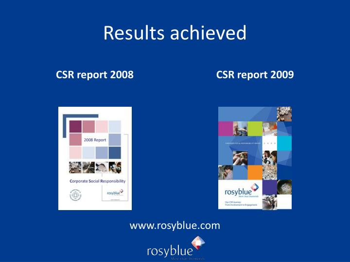 Results achieved