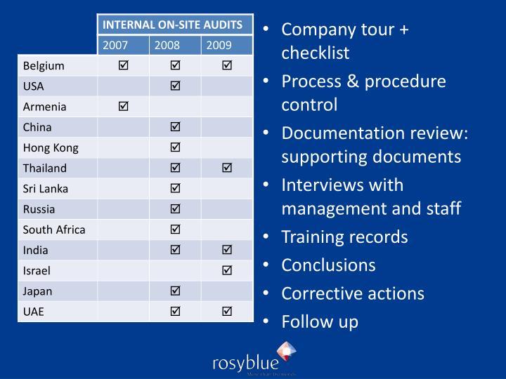 Company tour + checklist