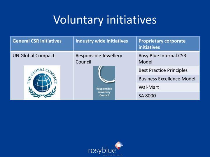 Voluntary initiatives