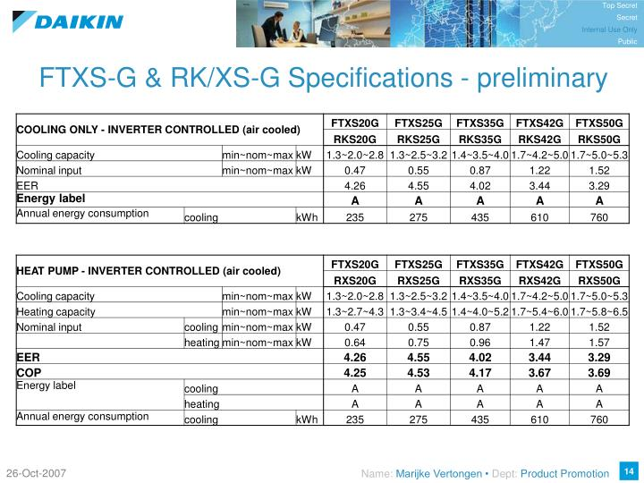 FTXS-G & RK/XS-G Specifications - preliminary