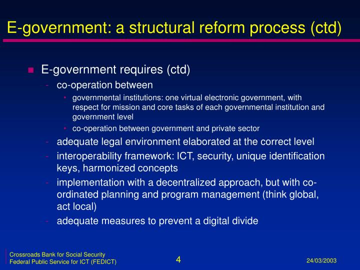 E-government: a structural reform process (ctd)