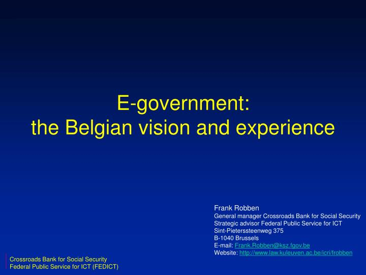 E government the belgian vision and experience