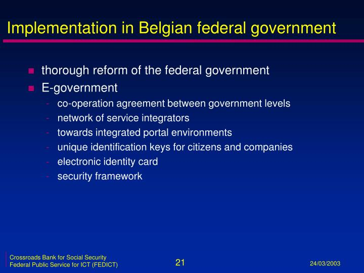 Implementation in Belgian federal government