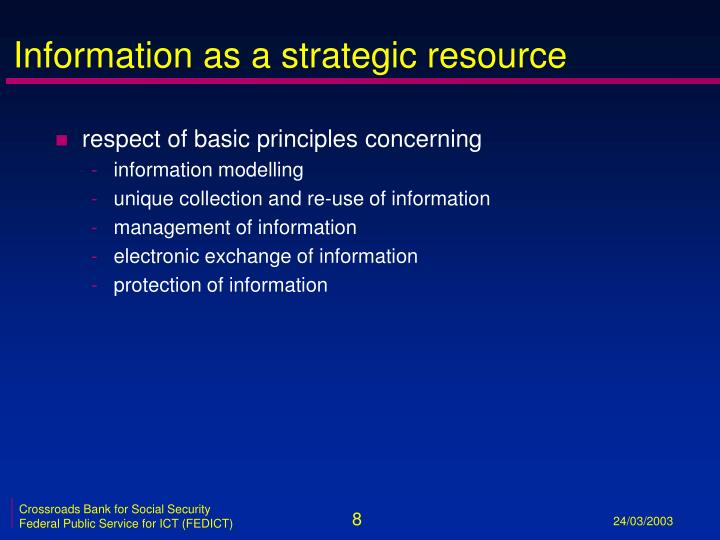 Information as a strategic resource