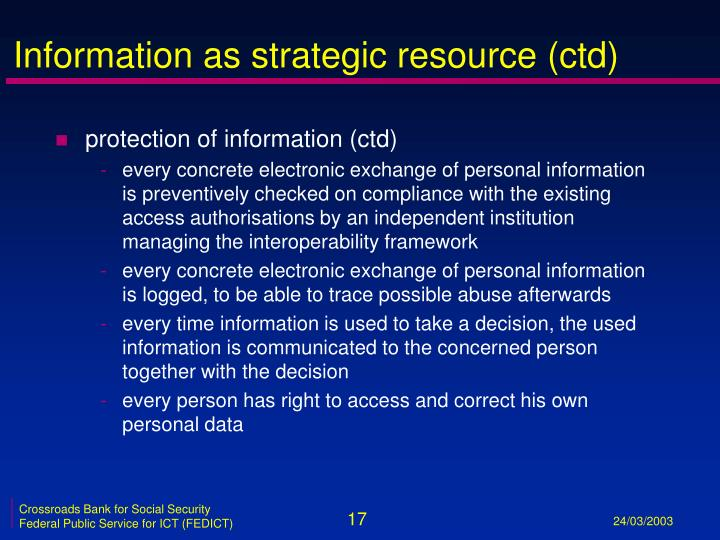 Information as strategic resource (ctd)
