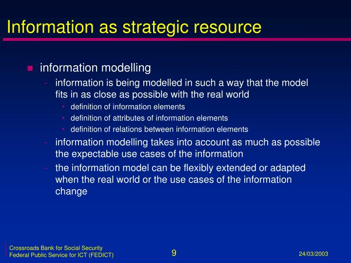 Information as strategic resource