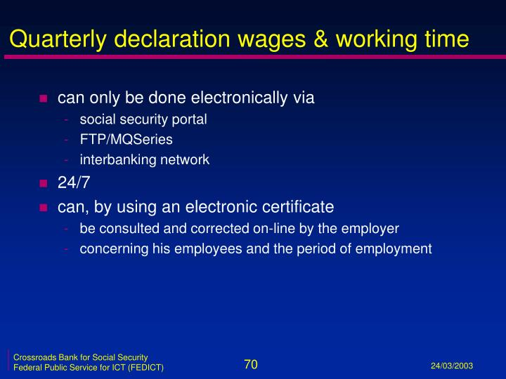 Quarterly declaration wages & working time