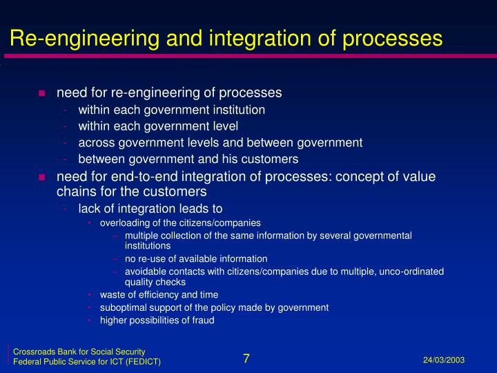 Re-engineering and integration of processes