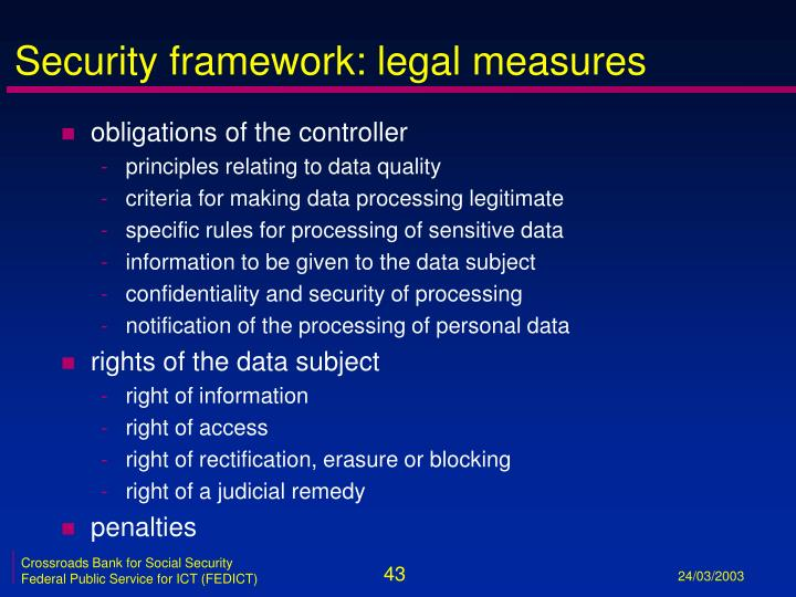 Security framework: legal measures