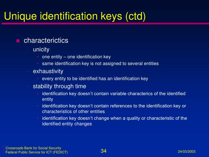 Unique identification keys (ctd)