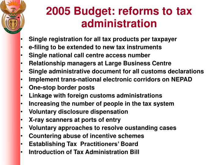 2005 Budget: reforms to