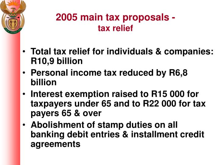 2005 main tax proposals -
