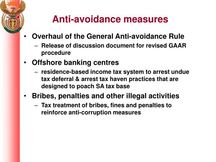 Anti-avoidance measures