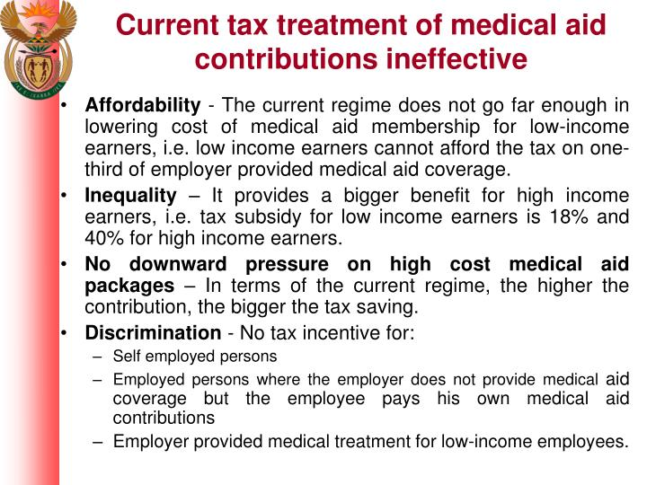 Current tax treatment of medical aid contributions ineffective