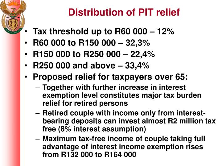 Distribution of PIT relief