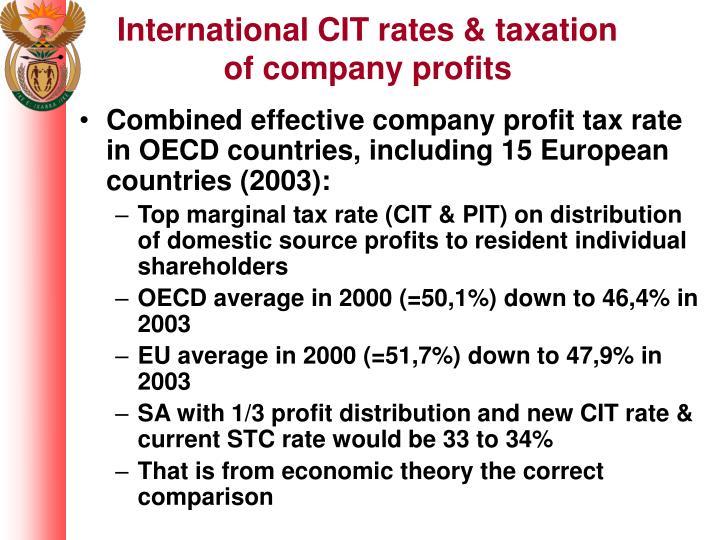 International CIT rates & taxation of company profits