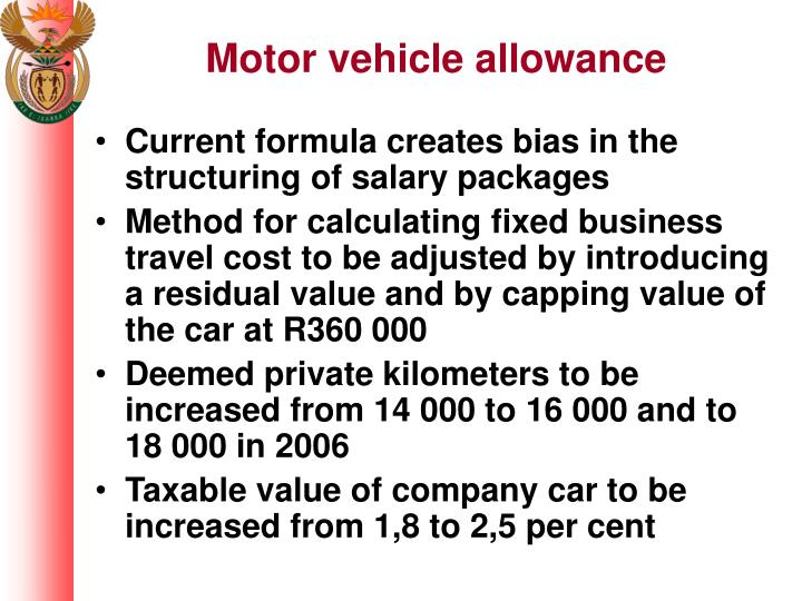 Motor vehicle allowance