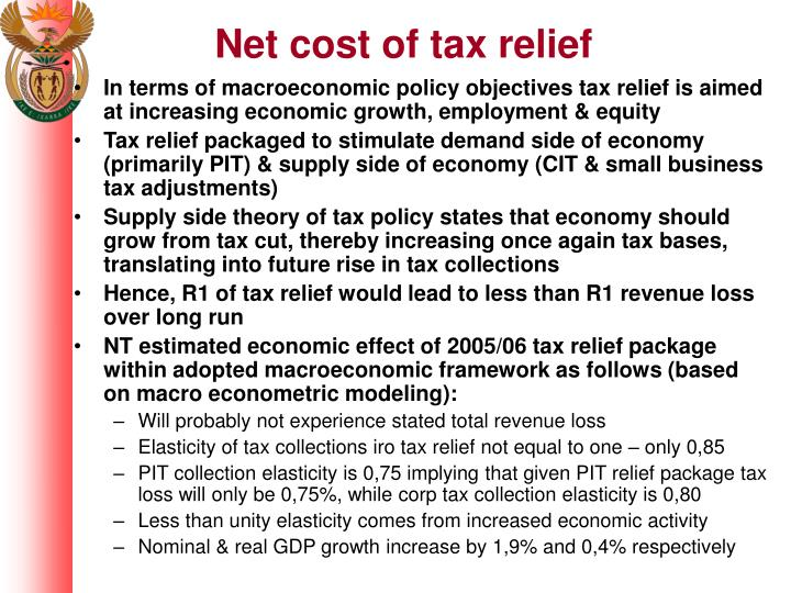 Net cost of tax relief