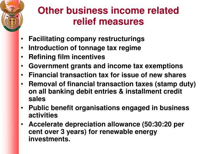 Other business income related relief measures