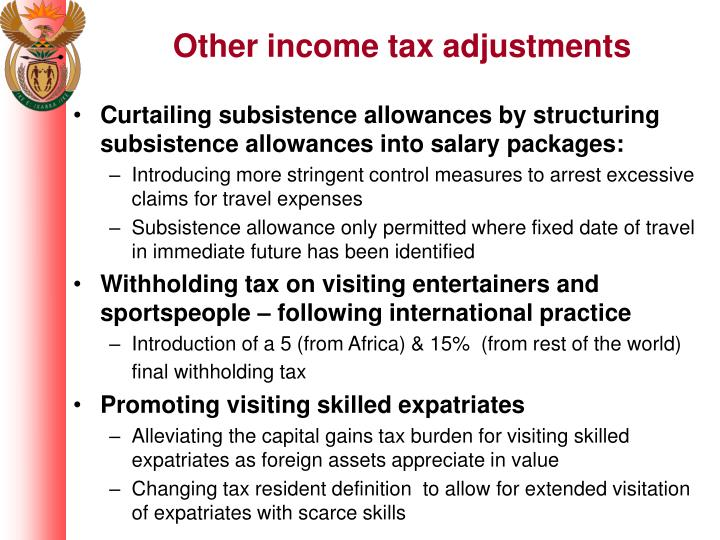 Other income tax adjustments
