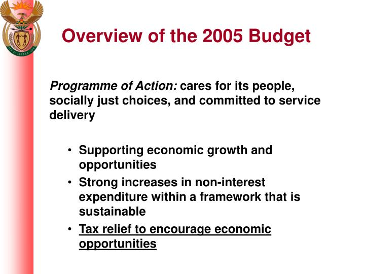 Overview of the 2005 Budget