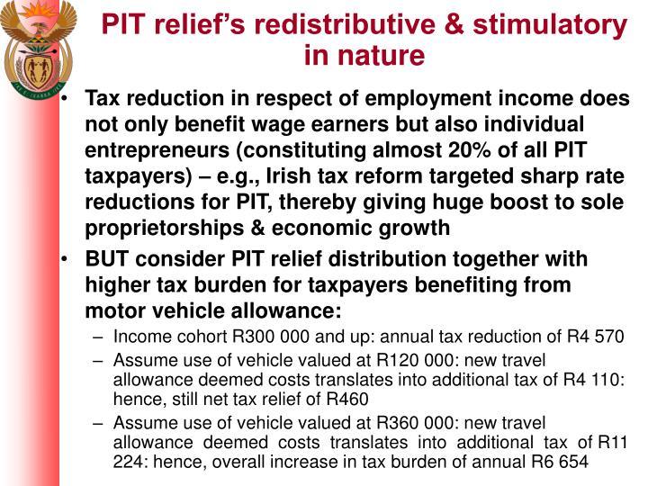 PIT relief's redistributive & stimulatory in nature