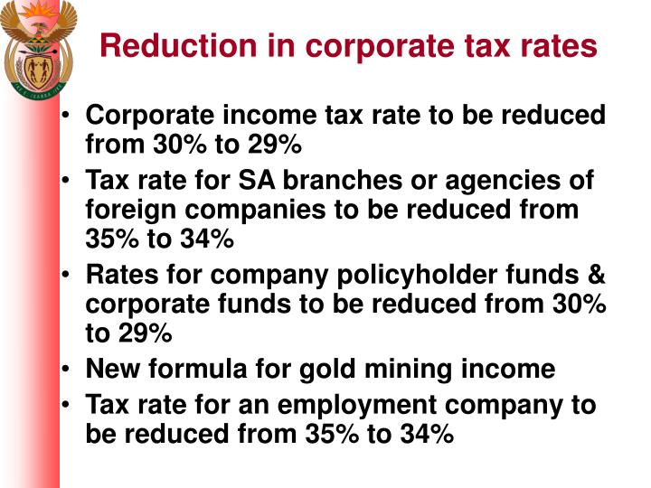 Reduction in corporate tax rates