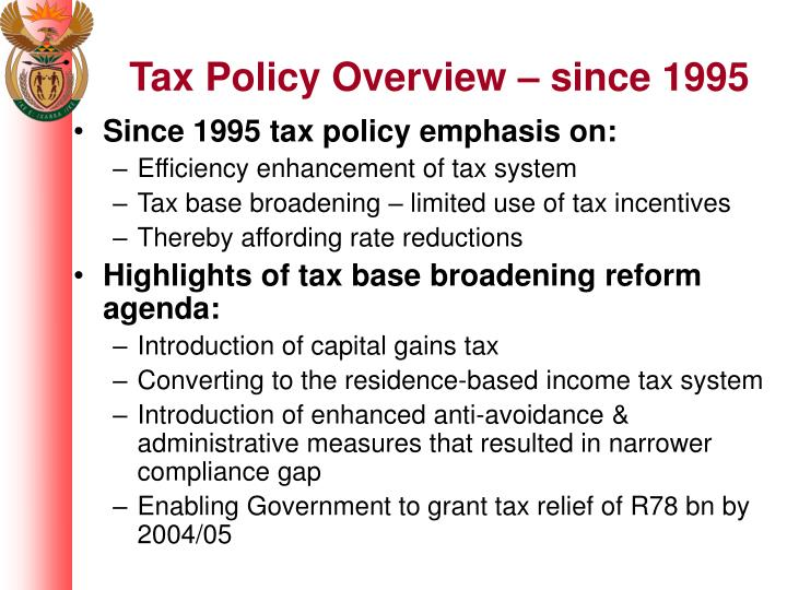 Tax Policy Overview – since 1995