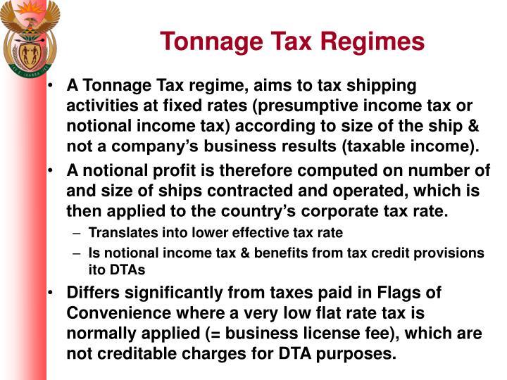 Tonnage Tax Regimes