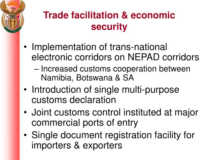 Trade facilitation & economic security