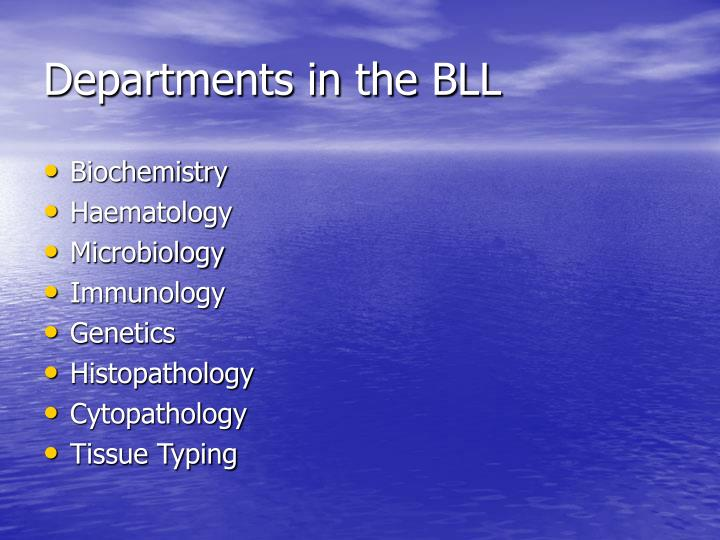 Departments in the BLL