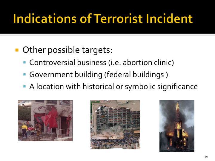 Indications of Terrorist Incident