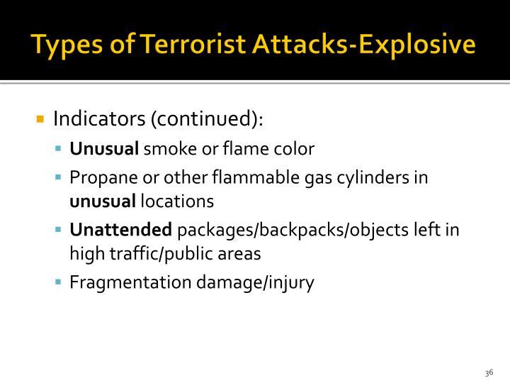 Types of Terrorist Attacks-Explosive